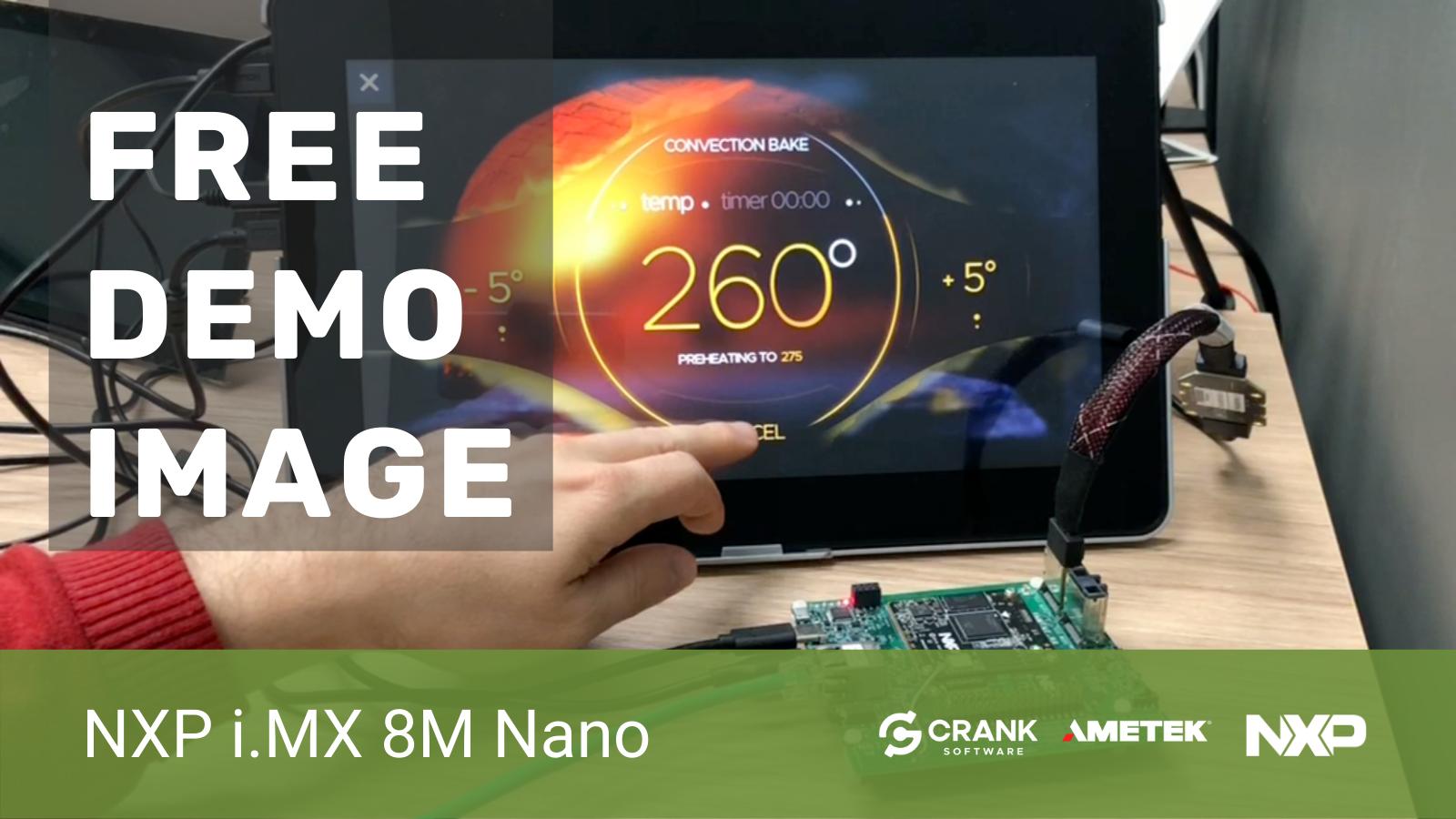 Person using a Crank Storyboard GUI on a Beacon EmbeddedWorks i.MX 8M Nano SOM