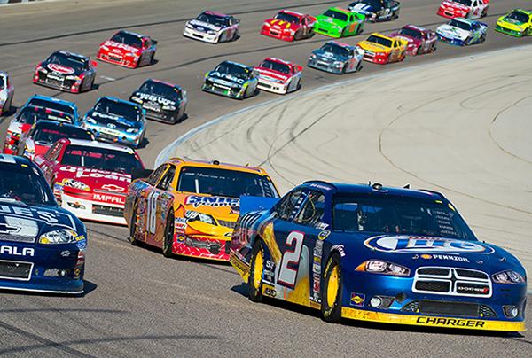 NASCAR vehicles on track