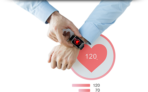 A touch screen smart watch showing a user's vitals