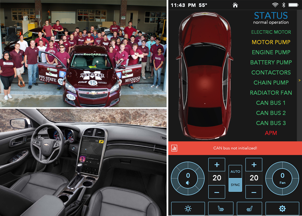 The EcoCAR 2 team, a UI of the product's touch screen, and a view of the touch screen from the inside of the car
