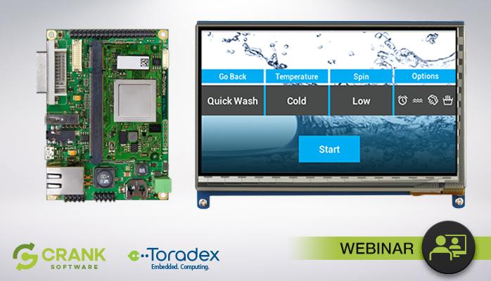A Toradex embedded board displays a washing machine GUI
