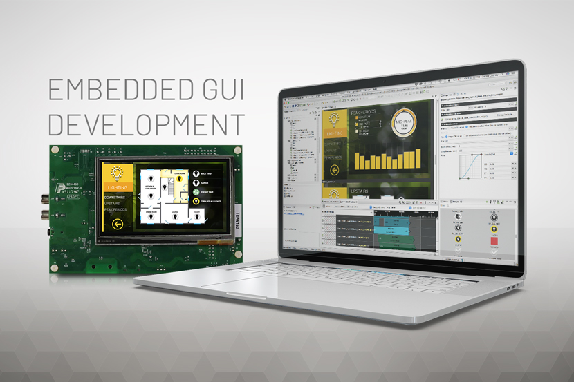 A floating laptop displays crank storyboard and embedded board GUI development process