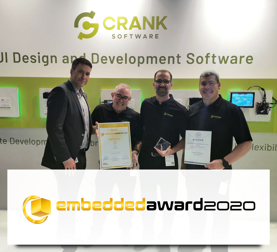Crank Software Wins Award for embedded GUI software Storyboard